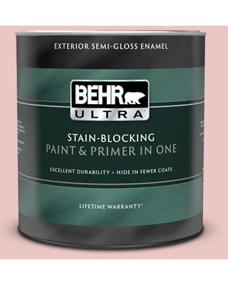 BEHR ULTRA 1 qt. #150E-2 Kashmir Pink Semi-Gloss Enamel Exterior Paint and Primer in One