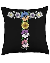 Initial Monogram Floral Alphabet Tees by Alice Ron T Shirt Cute Initial Monogram Floral Alphabet Letters Throw Pillow, 18x18, Multicolor