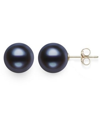 Cultured Freshwater Black Pearl AAA Quality Stud Earring in 14KT Yellow Gold
