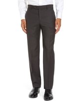 Men's Zanella Parker Flat Front Sharkskin Wool Trousers, Size 42 - Brown
