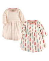 Touched by Nature Baby and Toddler Girls Garden Floral Youth Long-Sleeve Dresses, Pack of 2 - Feather