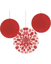 3ct Red Paper Fans Hanging Party Decorations, Women's