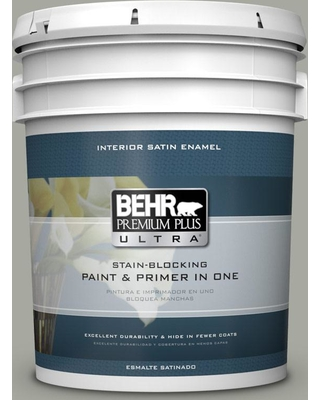 BEHR ULTRA 5 gal. #PPU25-05 Old Celadon Satin Enamel Interior Paint and Primer in One