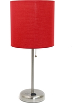 Limelights 19.5 in. Stick Lamp with Charging Outlet and Red Fabric Shade