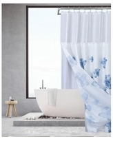 Spa 251 Water Floral Waffle Complete Shower Curtain With Detachable Liner - White/aqua