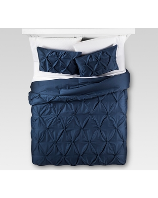 Dark Blue Pinched Pleat Comforter Set (Twin Extra Long) 2pc - Threshold