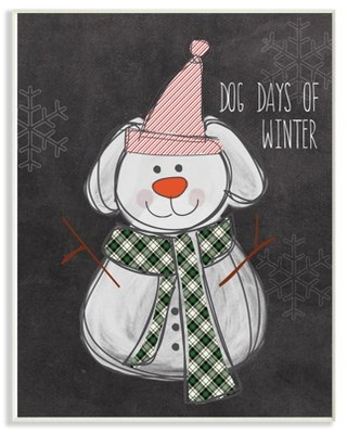 The Stupell Home Decor Collection Holiday Dog Days Of Winter Snowman Dog with Plaid Scarf Wall Plaque Art, 10 x 0.5 x 15
