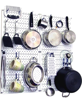 Wall Control Kitchen Pegboard 32 in. x 32 in. Metal Peg Board Pantry Organizer Kitchen Pot Rack White Pegboard and Blue Peg Hooks