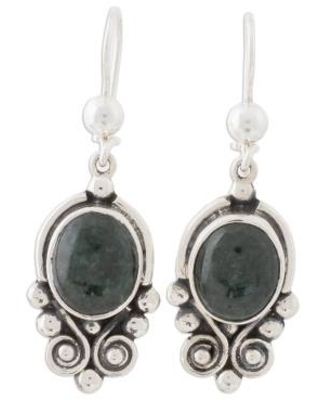 Hand Crafted Sterling Silver Good Luck Jade Dangle Earrings