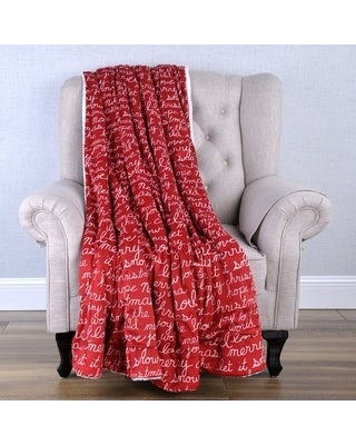 BOON Christmas Winter Holiday Gift Decorative Throw Blanket w/ Sherpa (script words - Knit)