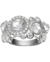Sophie Miller Sterling Silver Cubic Zirconia Cluster Ring, Women's, Size: 7, White