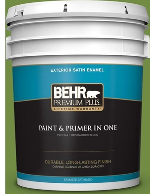 BEHR Premium Plus 5 gal. #420D-6 Thyme Green Satin Enamel Exterior Paint and Primer in One