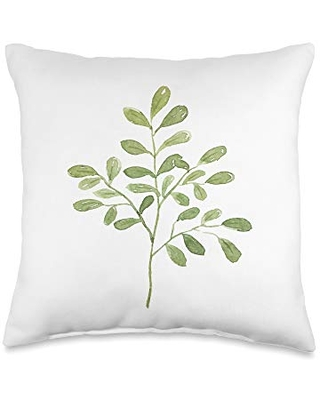 Abstract Art Decor Gifts Leaves Green Watercolor Plant Garden Shed Print Decor Gift Throw Pillow, 16x16, Multicolor