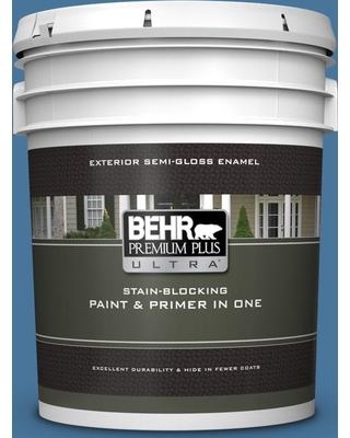 BEHR ULTRA 5 gal. #580D-6 Liberty Semi-Gloss Enamel Exterior Paint and Primer in One