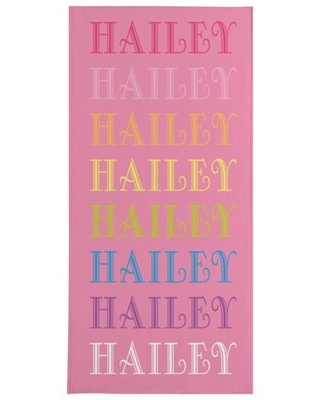 Personalized Rainbow Name Beach Towel - Pink