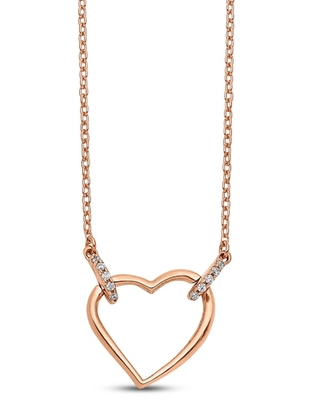 Jared The Galleria Of Jewelry Heart Necklace Diamond Accents 14K Rose Gold