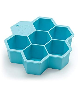 Outset Large Hexagon Silicone Ice Cube Tray, 6-Cell, Blue