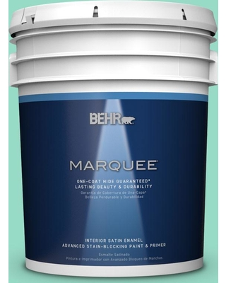 BEHR MARQUEE 5 gal. #MQ4-17 Pageant Green One-Coat Hide Satin Enamel Interior Paint and Primer in One