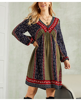 Suzanne Betro Dresses Women's Casual Dresses 101NAVY/OLIVE - Navy & Olive Floral Balloon-Sleeve A-Line Dress - Women & Plus