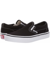 Vans Kids Classic Slip-On (Little Kid/Big Kid) (Black/True White) Kids Shoes