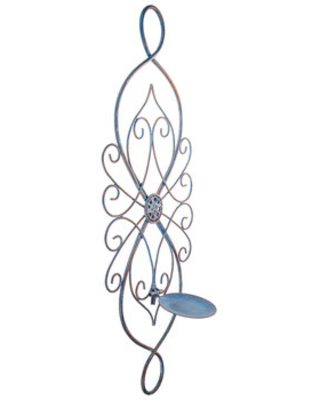 Antique Blue Scroll Metal Wall Sconce