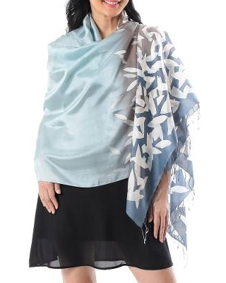 Hand-Painted Ombre Batik Silk Shawl from Thailand