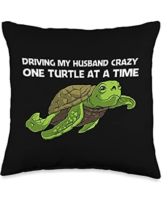 Best Tortoise Reptile & Bony Shell Species Designs Funny Gift for Women Grandma Turtle Land Water Animal Throw Pillow, 16x16, Multicolor