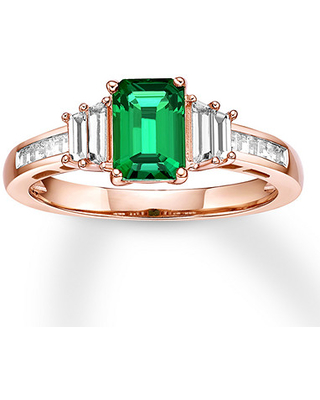 Jared Lab-Created Emerald Ring Lab-Created Sapphires 10K Rose Gold