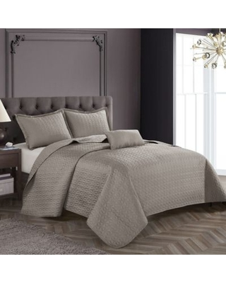 Nanshing Wilshire Queen Coverlet Set in Taupe