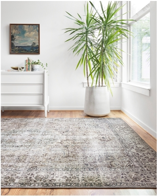 """Alexander Home Isabelle Traditional Vintage Border Printed Area Rug (7'6"""" x 9'6"""" - Taupe/Stone)"""