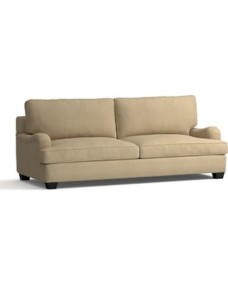 """PB English Arm Upholstered Grand Sofa 90"""", Down Blend Wrapped Cushions, Performance Everydaysuede(TM)Light Wheat"""