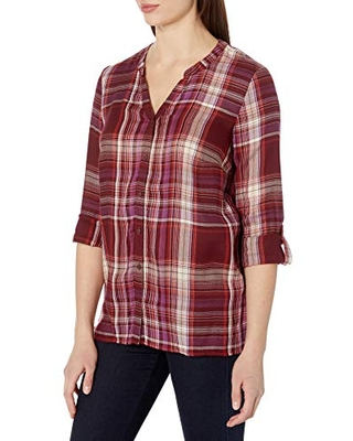 Erika Women's Alisa 3/4 Sleeve Split Neck Button Front Shirt, Red Currant - Ossa Plaid, Small