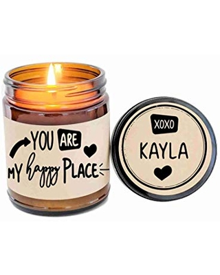 You Are My Happy Place Custom Candle Personalized Candle Scented Soy Candle Gift for Husband Gift for Wife Gift for Spouse Romantic Gift