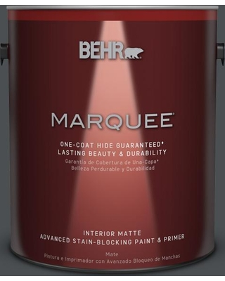 BEHR MARQUEE 1 gal. #PPU26-01 Satin Black Matte Interior Paint and Primer in One
