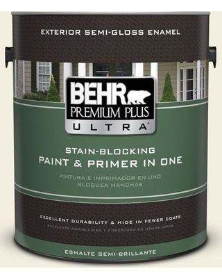BEHR Premium Plus Ultra 1 gal. #GR-W01 White Wool Semi-Gloss Enamel Exterior Paint and Primer in One