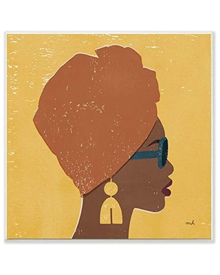Stupell Industries Female Couture Head Wrap Glam Fashion, Design by Moira Hershey Wall Plaque, 12 x 12, Yellow