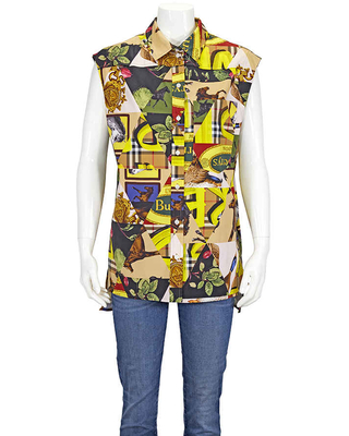 Burberry Ladies Woven Bright Yellow Archive Scarf Print Sleevlesss Shirt, Brand Size 6 (US Size 4)