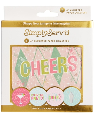 Pop Party Mid Century Paper Coasters 8 Count: Multi by World Market