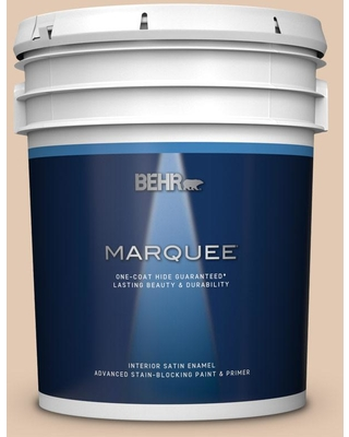 BEHR MARQUEE 5 gal. #290E-2 Oat Cake Satin Enamel Interior Paint and Primer in One