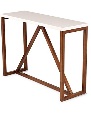 Kate and Laurel Kaya Two-Toned Wood Console Table, White Top with Walnut Brown Base