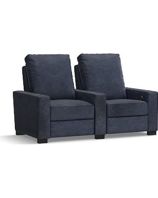 Turner Square Arm Leather 2-Piece Media Armchair Sectional, Down Blend Wrapped Cushions, Statesville Indigo Blue