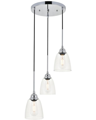 ELEGANT FURNITURE & LIGH Timeless Home Fields 3-Light Pendant in Chrome with 5.7 in. W x 6.1 in. H Clear Glass Shade