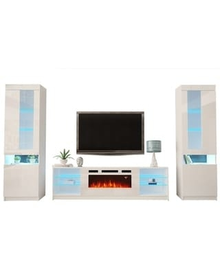 The Best Sales For Boston Wh01 Electric Fireplace Modern Wall Unit Entertainment Center White