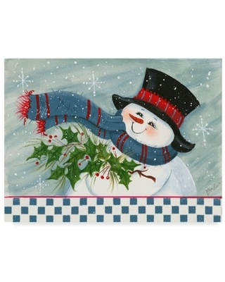 Trademark Fine Art 'Snowman With Holly' Canvas Art by Beverly Johnston