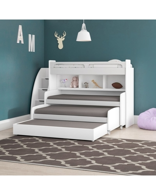 Sweet Savings On Gautreau Twin Triple Bunk Bed With Trundle