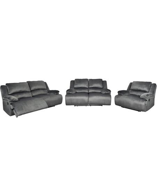 Clonmel Collection 36505-81-86-52 3-Piece Living Room Set with Reclining Sofa Loveseat and Chair in