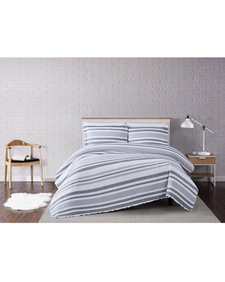 King 3pc Curtis Stripe Quilt Set White/Gray - Truly Soft