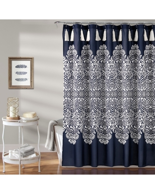 Boho Medallion Shower Curtain Navy Blue