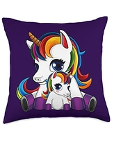 Unicorn - Mother's Day Baby Uncorn and Mother Throw Pillow, 18x18, Multicolor