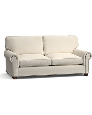 """Webster Roll Arm Upholstered Sofa 85"""" with Bronze Nailheads, Down Blend Wrapped Cushions, Textured Basketweave Flax"""